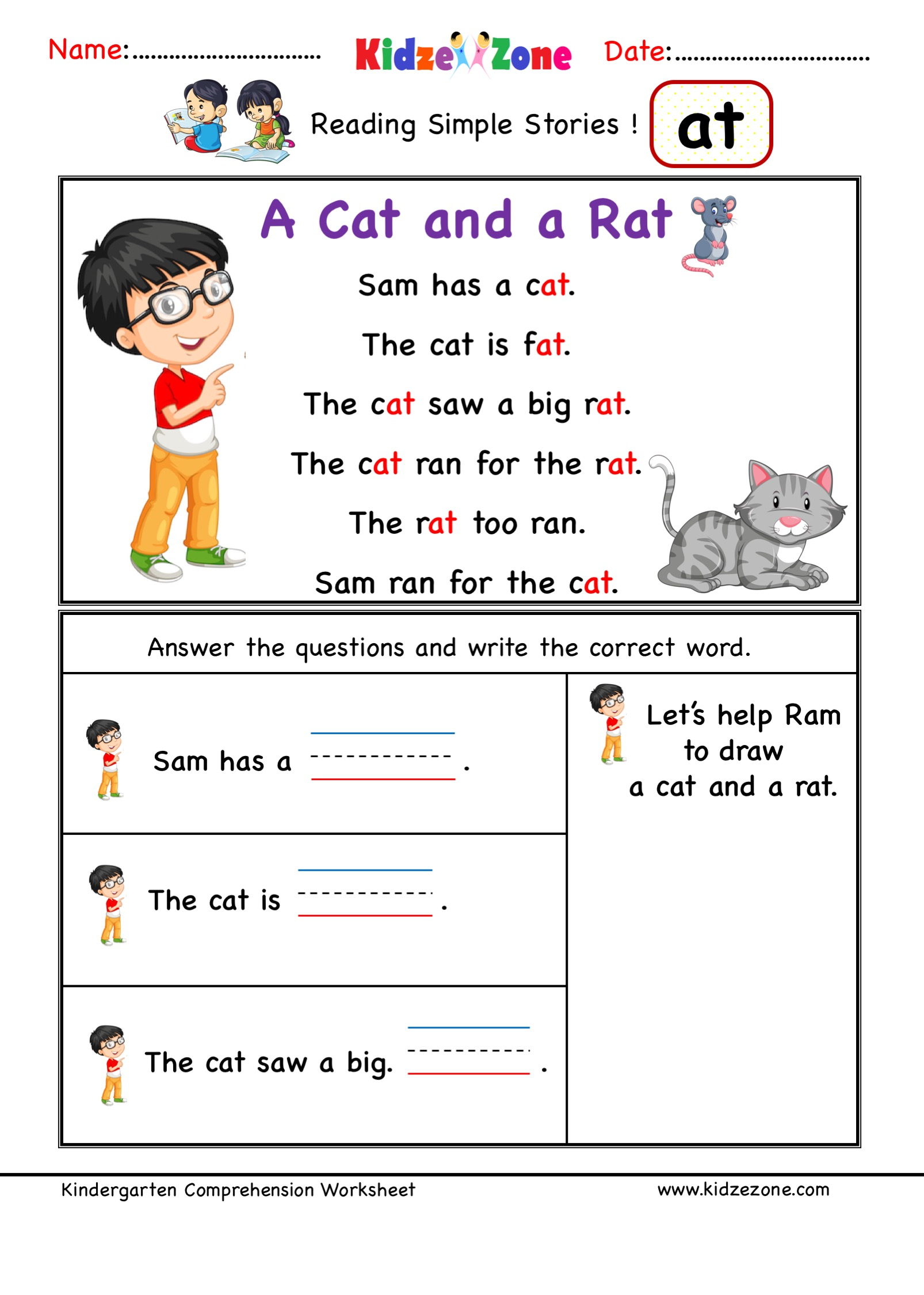 Kindergarten worksheets - at word family reading Comprehension