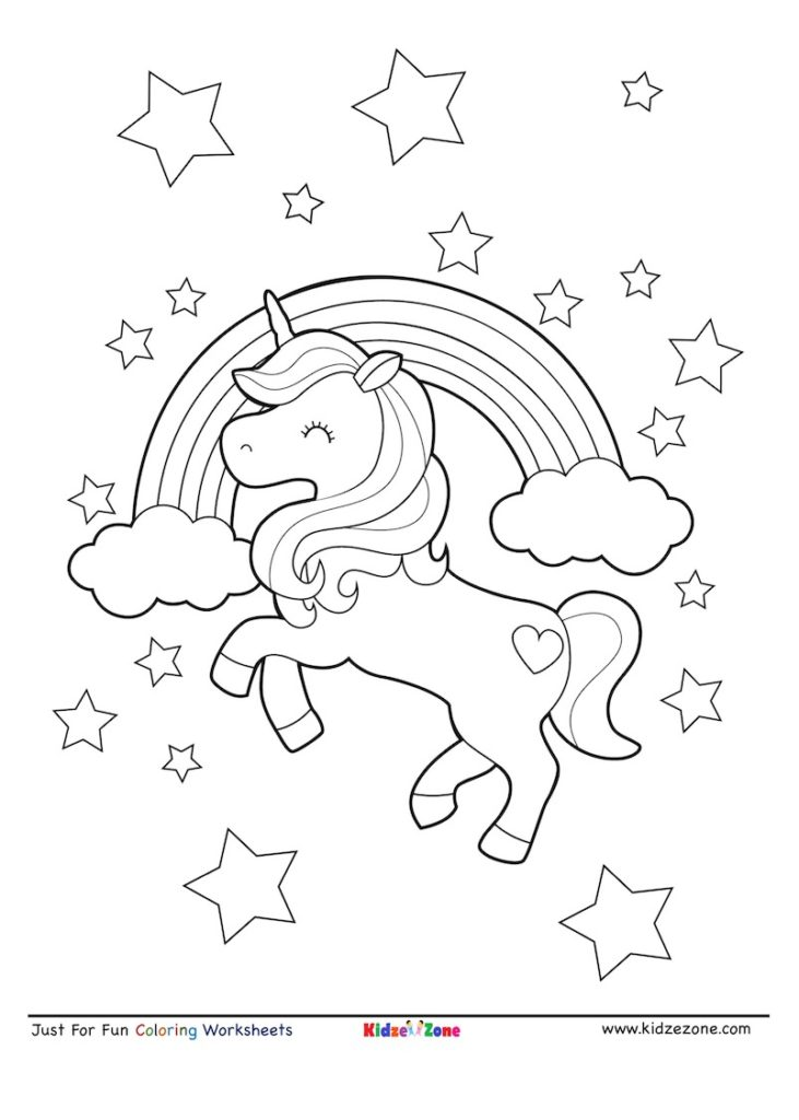 Unicorn on Rainbow Coloring Page - KidzeZone