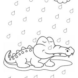 Crocodile in Rain Coloring Page