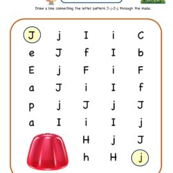Letter Maze Worksheet for letter J